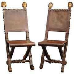 Pair of Early 19th Century Spanish Walnut Folding Chairs with Original Leather
