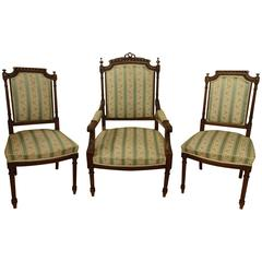 Suite Wooden One Fauteuil and Two Chairs
