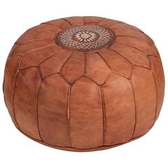 Vintage Moroccan Leather Pouf
