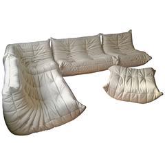Vintage Beige Leather Togo Sofa Set by Michel Ducaroy for Ligne Roset, 1974
