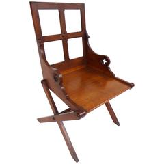 19th Century Gothic Revival Solid Oak Chair