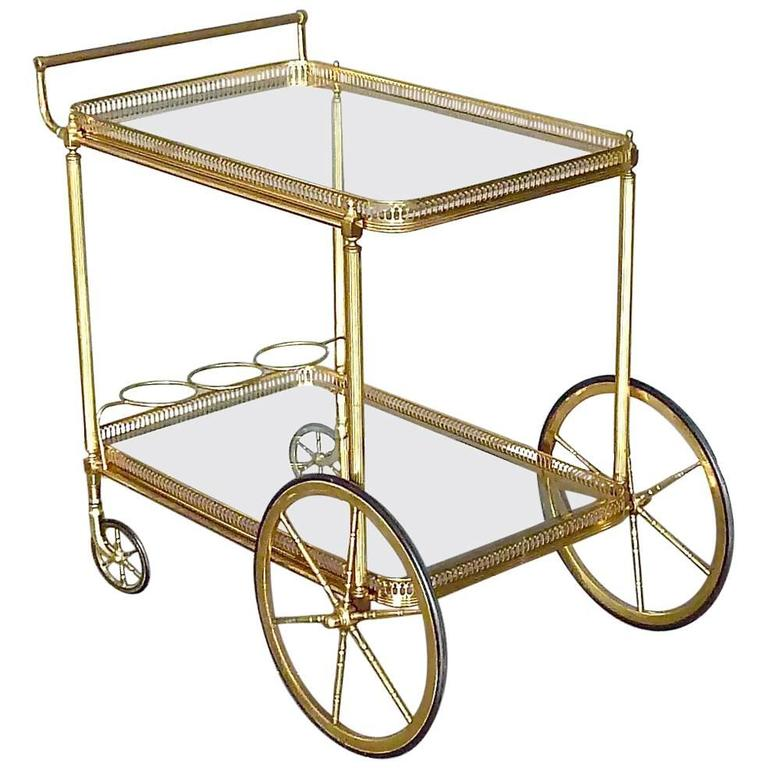 Attrayant Brass Glass Bar Cart Serving Table Trolley, Maison Baguès Jansen, French,  1950s For