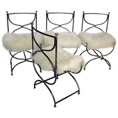 Maison Jansen Style Set of Four Steel Chairs with Sheepskin Cushions, 1960s