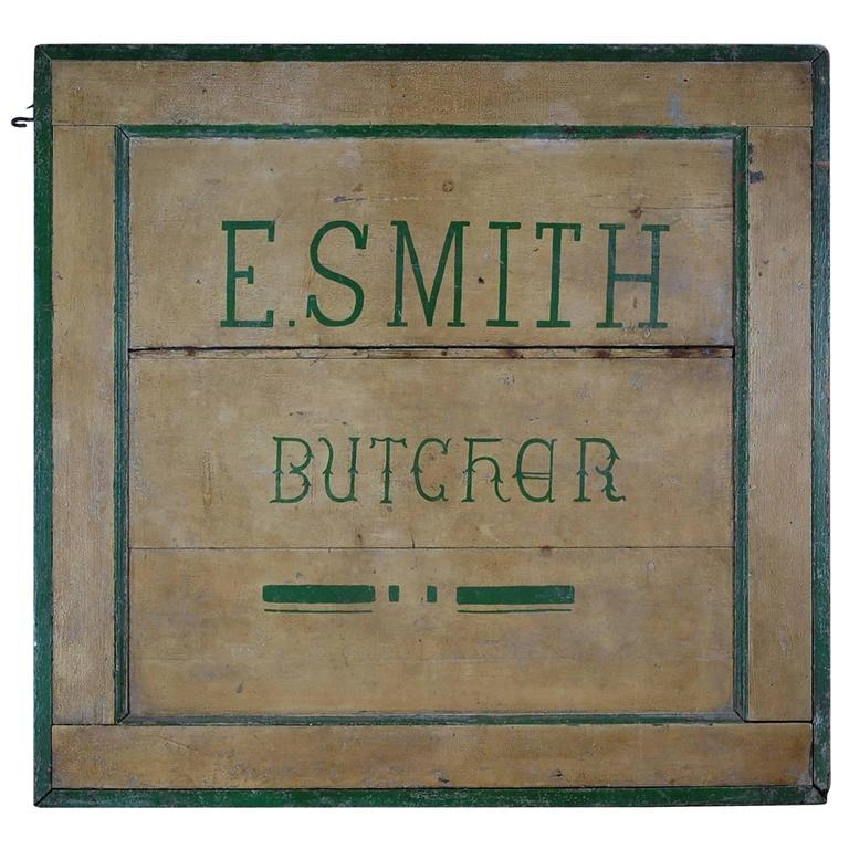 Early 20th Century Naive Butchers Trade Sign