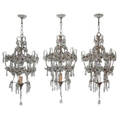 Mid-Century Modern Chandeliers French Crystal Metal Forged  1950s