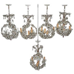 Mid-Century Modern Chandeliers French 1950s Crystal Metal Forged
