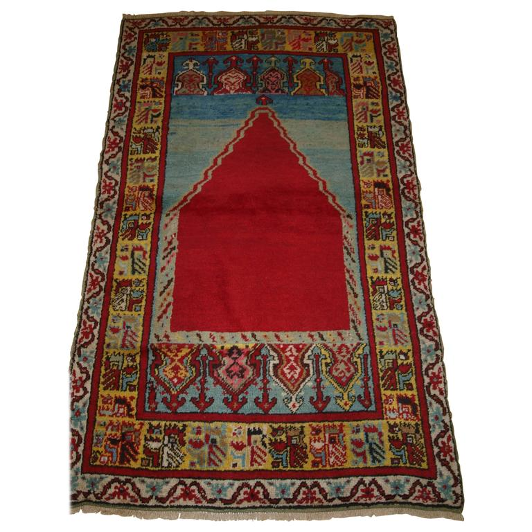 The Gheordez Prayer Rug Was Initially Created: Old Turkish Kirsehir Village Prayer Rug Of Classic Design