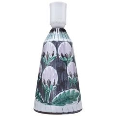 Scandinavian Modern Ceramic Lamp with Lilac Flowers by Alingsås Keramik