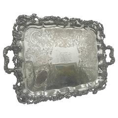 Amazing English Sheffield Plate Tray, 1851