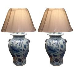 Large Pair Of Chinese Blue And White Ginger Jar Lamps