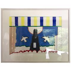 "Roger Raveel Gouache on Paper Behind Glass ""Brugge"" painted in 1997 original"