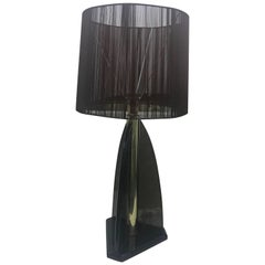 Vintage Smoked Lucite Table Lamp by Van Teal