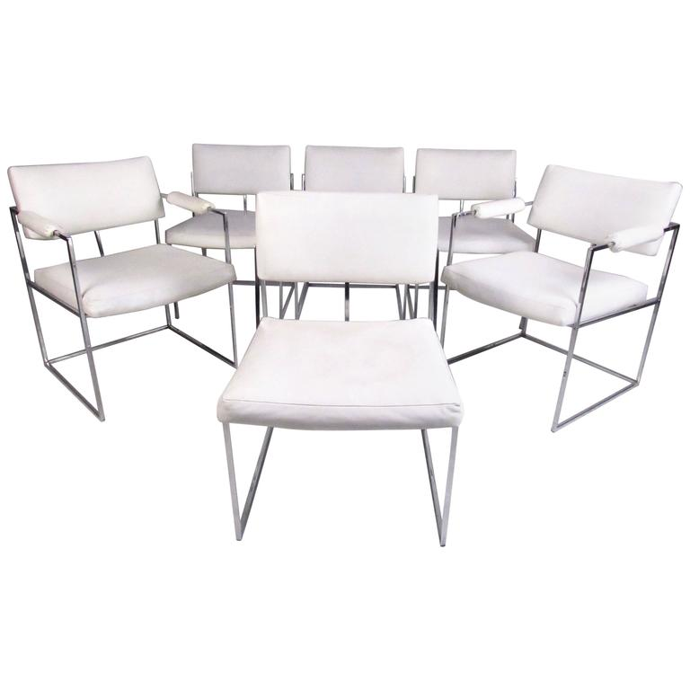 Set of Milo Baughman Style Modern Dining Chairs