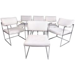 Set of Modern Chrome Dining Chairs after Milo Baughman