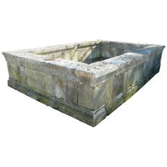 Large and Rectangular Antique Stone Basin with Moldings and Thick Copings