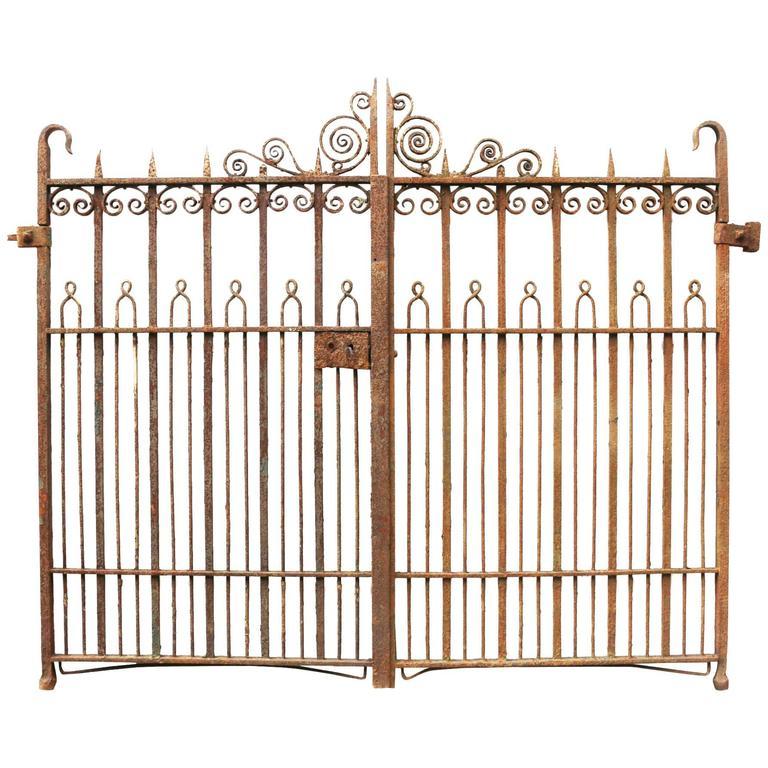 Antique Pair of Wrought Iron Pedestrian Gates For Sale