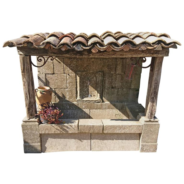 Large Wall Fountain With Stone Basin Roof With Wooden