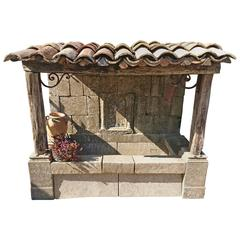 Large Wall-Fountain with Stone Basin, Roof with Wooden Beams and Provence Tiles