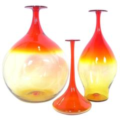 Collection of Sculptural Glass Vases by Wayne Husted for Blenko