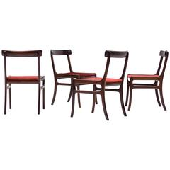 Set of Four Ole Wanscher Mahogany Rungstedlund Chairs
