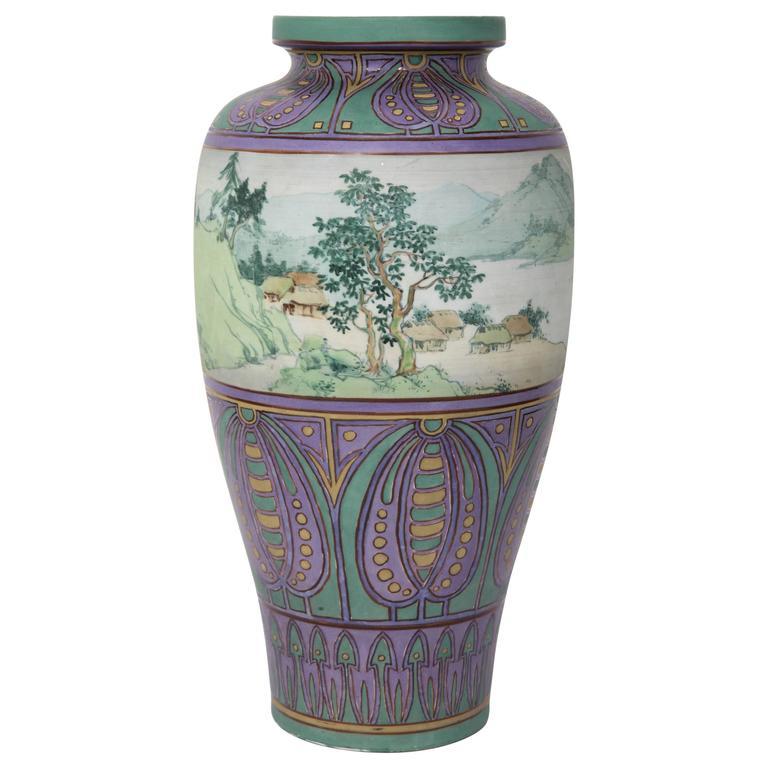 Antique Hand Painted Porcelain Ceramic Nippon Vase For Sale At 1stdibs