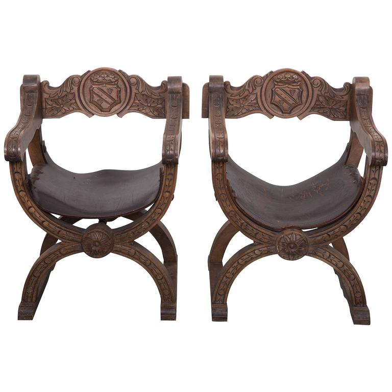 Pair of Navarro Argundo Leather and Wood Frame Chairs