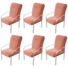 Set of Six Lion in Frost Lucite Armchairs
