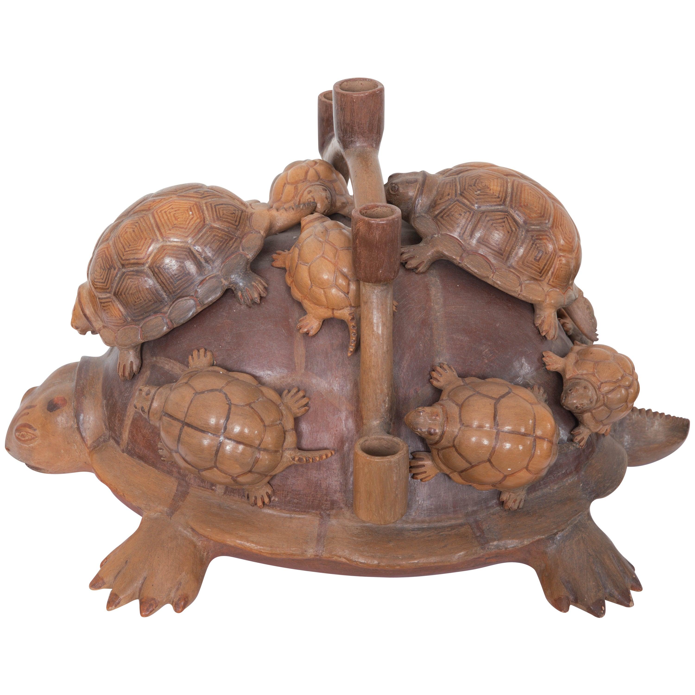 Heron Martinez Medoza Workshop Ceramic Turtle Candelabra For Sale at ...