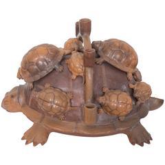 Heron Martinez Medoza Workshop Ceramic Turtle Candelabra