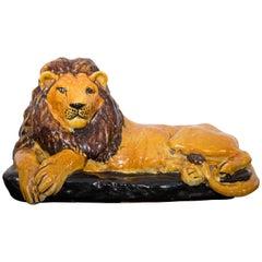 Mid-Century Italian Glazed Terracotta Lion