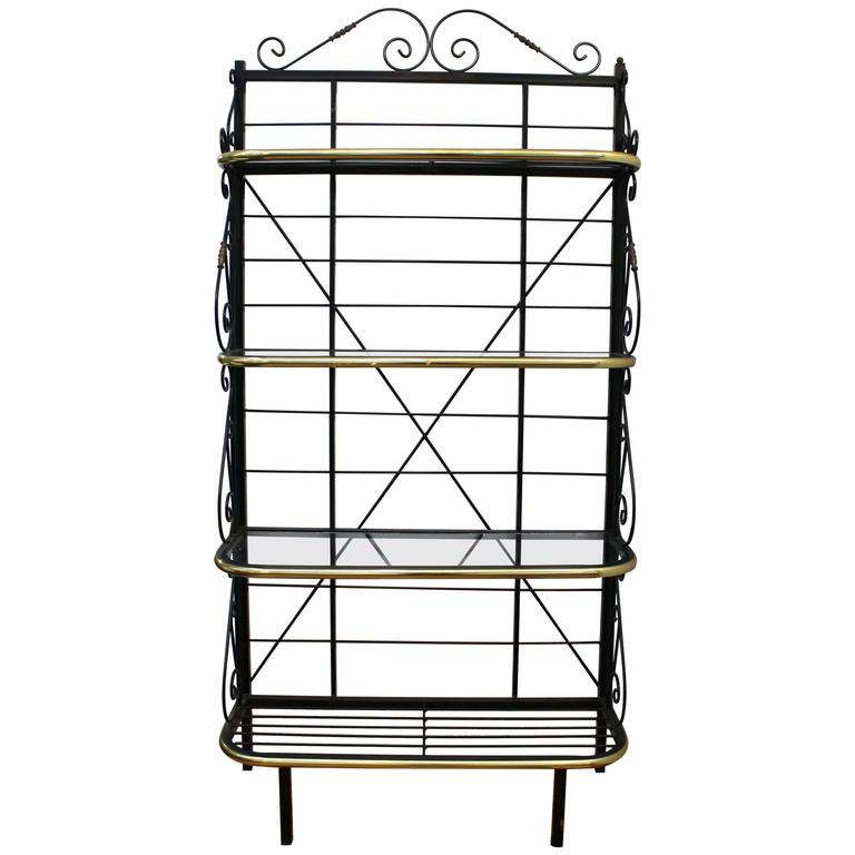 Mid-Century Brass and Metal Bakers Rack 1