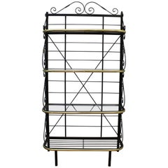 Mid-Century Brass and Metal Bakers Rack