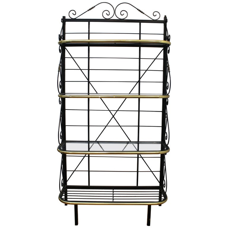 Mid-Century Brass and Metal Bakers Rack For Sale