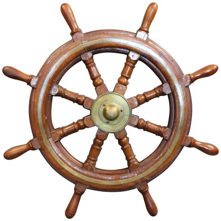 Mahogany Ship's Wheel with Brass Hub For Sale