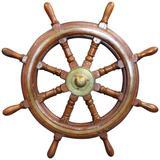 Mahogany Ship's Wheel with Brass Hub