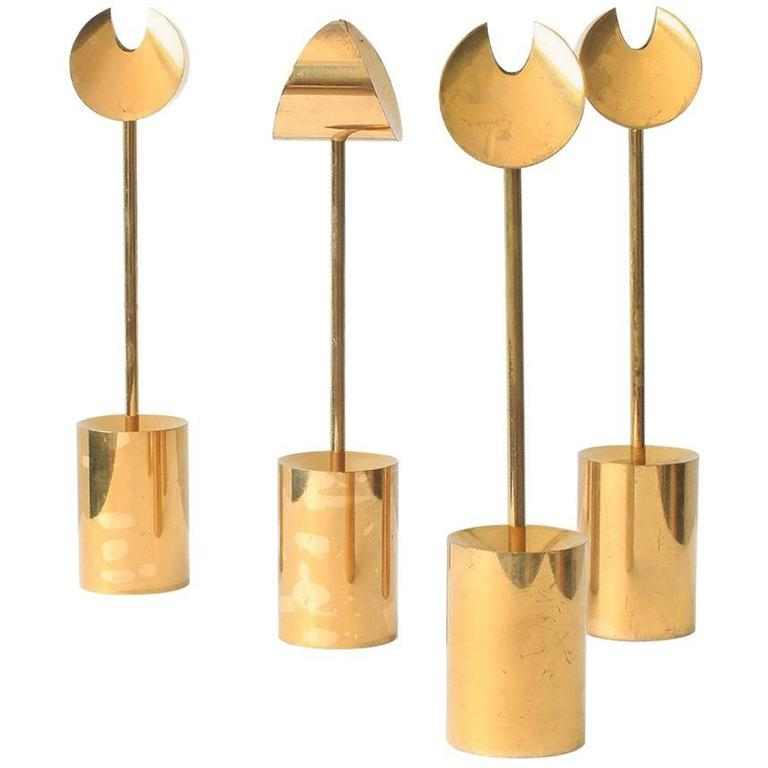 Pierre Forsell Brass Candleholders For Sale