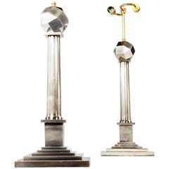 Pair of Nickel-Plated Column Lamps