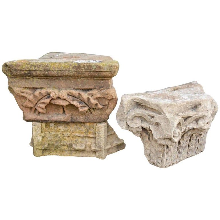 Two Early Architectural Stone Capital For Sale