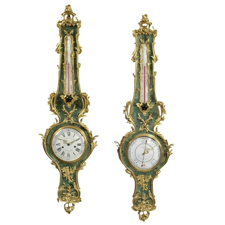 Louis XV Style Gilt-Bronze Mounted Green Stained Horn Clock and Barometer Set