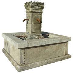 Square-Shaped Garden Fountain in Limestone with Hand-Sculpted Central Column