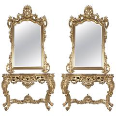 Pair of Rococo Style Giltwood Console Tables & Mirrors, Italy, circa 1890