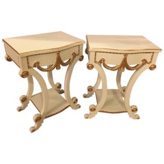 Pair of Grosfeld House Paint and Gilt Decorated End Tables or Nightstands