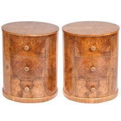 Pair of Walnut Art Deco Bedside Cabinets