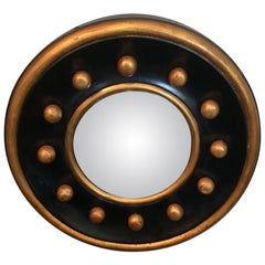 Bold Circular Little Black and Gold Mirror