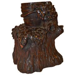 Black Forest Carving of Bucket of Grapes, Stump