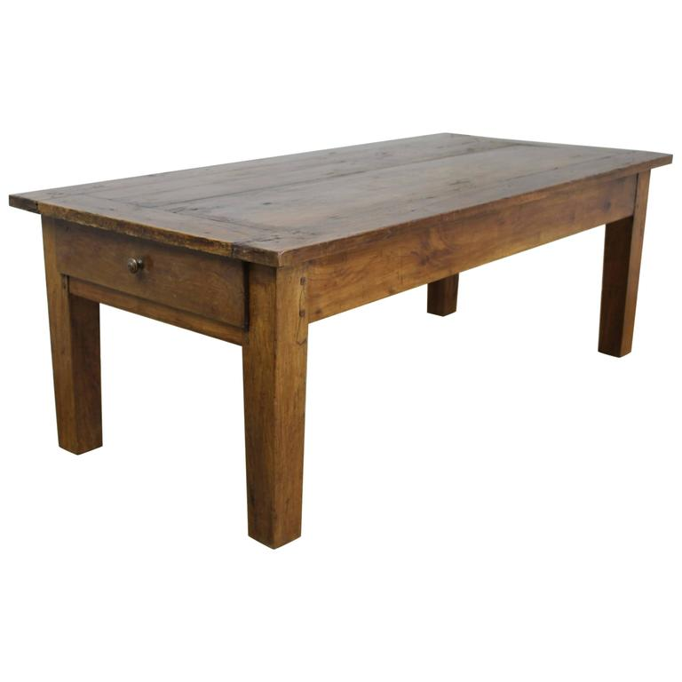 Chunky Antique Cherry Coffee Table Two Drawers For Sale At 1stdibs