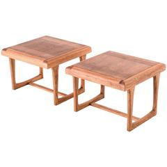 Mid-Century Modern Set of Two-Tone Walnut Sofa Side Tables by Lane