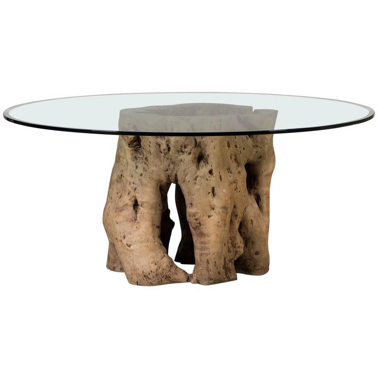 Live Edge Natural Teak Tree Trunk Table with Round Glass Top, Indonesia