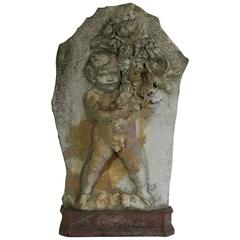 French Early 19th Century Marble Panel with an Angel, Putti