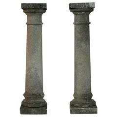 French 19th Century White Stone Columns